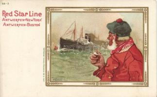 Red Star Line Antwerp-New York, Antwerp-Boston litho s: H. Cassiers, Red Star Line Antwerp-New York, Antwerp-Boston litho s: H. Cassiers
