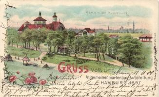 1897 Hamburg, Allgemeinen Gartenbau Ausstellung / General Horticultural Exposition, floral litho