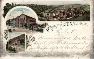 1897 Altenau im Harz, Rammelsbergs Hotel and Villa, floral litho