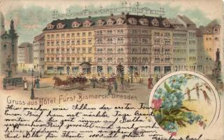 Dresden, Hotel Fürst Bismarck, floral litho