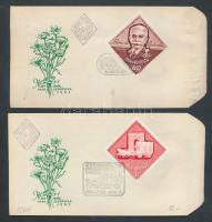 1963 Nagy idők - nagy események 2db vágott bélyeg FDC-n (3.600)