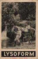 At the stream, WWI Hungarian military card, soldier with horse, Lysoform advertisement on the backside (pinhole), A forrásnál, I. világháborús katonai lap, katona lóval, hátoldalon Lysoform reklám (lyuk)