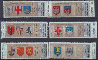 1968 Nyári olimpia helyszínek címerei (II.)ívszéli sor Mi 839-844