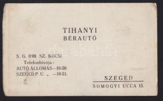 Szeged Tihanyi bérautó reklámkártya