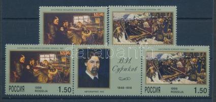 1998 Vaszilij Ivanovics Szurikov 150. születésnapja sor + hármascsík + kisív Mi 639-640