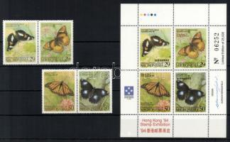 1993-1994 Lepkék sor párokban Mi 313-316 + Nemzetközi bélyegkiállítás HONG KONG kisív Mi 340-343