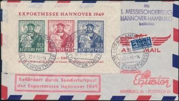 1949 Hannoveri vásár Mi blokk 1 alkalmi légi FDC Hannover - Hamburg első vásári alkalmi repüléssel / Mi. block 1 FDC with 1st special flight Hannover - Hamburg