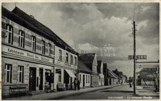 Kargowa, Unruhstadt; Zülichauer Strasse / street, shop of Ewald Ihm