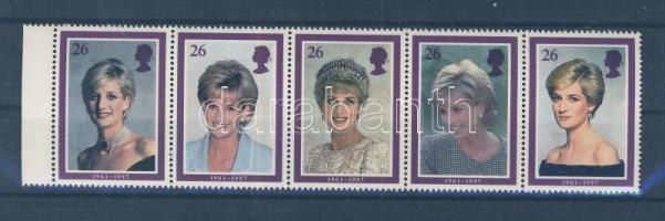 1998 Diana hercegnő halála 5-ös csíkban Mi 1729-1733