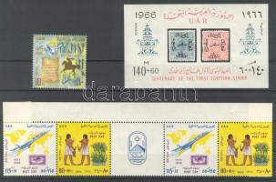 1966 A posta napja Mi 286 + Mi 287-288 ötöscsíkban szelvénnyel + blokk 11