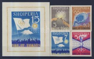 1964 Tokiói olimpia (IV) vágott sor Mi 828-831 + blokk 23