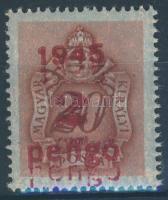 1945 Kisegítő portó 2P/20f kettős felülnyomással / Postage due Mi 176 with double overprint