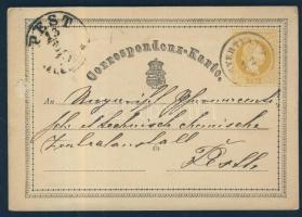 1870 Díjjegyes levelezőlap GYERTYAMOS - PEST