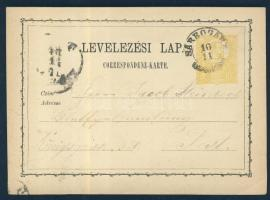 1874 Díjjegyes levelezőlap SÁRBOGÁRD - PEST