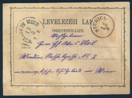 1874 Díjjegyes levelezőlap STUBICA - WIEDEN IN WIEN
