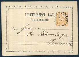 1872 Díjjegyes levelezőlap PEST DÉLKEL. VASP. - Temesvár