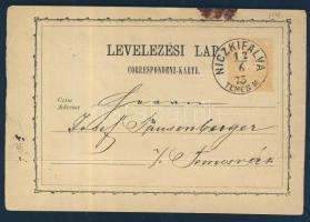 1873 Díjjegyes levelezőlap / PS-card NICKIFALVA TEMES M. - Temesvár