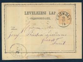 1874 Díjjegyes levelezőlap / PS-card CSÖKÖLY - TRIEST