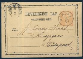 1874 Díjjegyes levelezőlap MÁNDOK - BUDAPEST (hajtott)