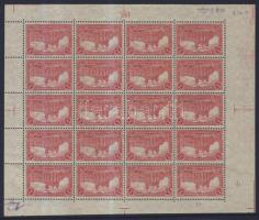 1915 Mi 94BII teljes ív lemezszámmal (1 bélyegen foltok) / complete sheet, (stain on 1 stamp)