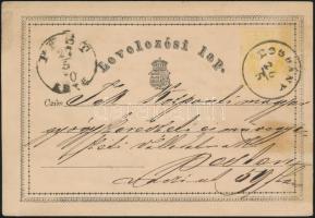 1870 Díjjegyes levelezőlap / PS-card BOGDÁNY - PEST