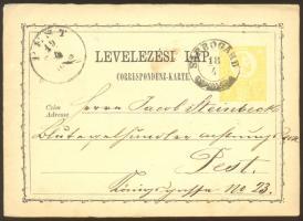 1872 Díjjegyes levelezőlap / PS-card SÁRBOGÁRD - PEST