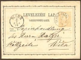 1874 Díjjegyes levelezőlap / PS-card SV.KRIZ-ZACRETJE - WIEN