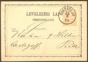 1875 Díjjegyes levelezőlap / PS-card SUHOPLOJE - Pesth