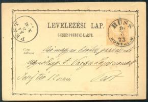 1873 Díjjegyes levelezőlap / PS-card RUSS HUNYAD M. - PEST