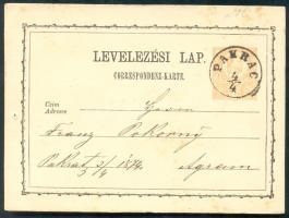 1874 Díjjegyes levelezőlap / PS-card PAKRAC - Agram