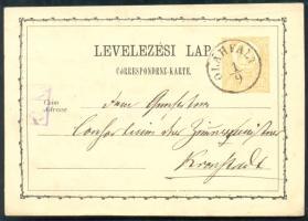 1873 Díjjegyes levelezőlap / PS-card OLÁHFALU - Kronstadt
