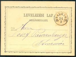 1874 Díjjegyes levelezőlap / PS-card NADRAG - Temesvár