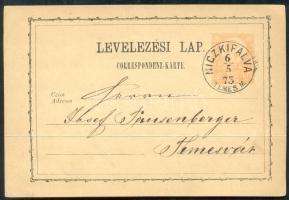 1873 Díjjegyes levelezőlap / PS-card NICZKIFALVA TEMES M - Temesvár