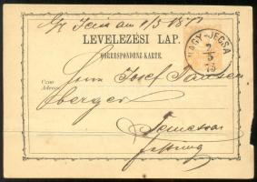 1873 Díjjegyes levelezőlap / PS-card NAGY-JECSA - Temesvár