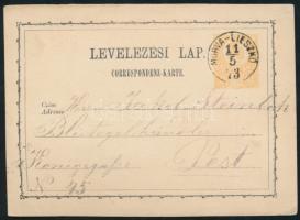 1873 Díjjegyes levelezőlap / PS-card MORVA-LIESZKO - Pest