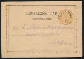 1873 Díjjegyes levelezőlap / PS-card MAGYAR-BOLY - Siklós
