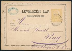 1872 Díjjegyes levelezőlap / PS-card MORAVITZA - Prag