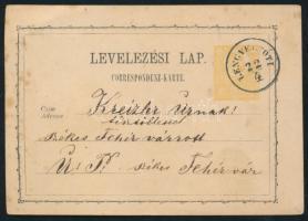 1872 Díjjegyes levelezőlap / PS-card LENGYELTÓTI - Fehérvár