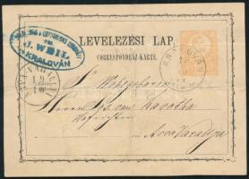 1874 Díjjegyes levelezőlap / PS-card KRALOVÁN ÁRVA M - ÁRVA VÁRALLYA (hajtott / folded)