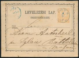 1874 Díjjegyes levelezőlap / PS-card kék / blue FÓTH PEST M. - Mähren