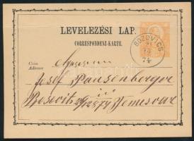 1874 Díjjegyes levelezőlap / PS-card BOZOVICS - Temesvár