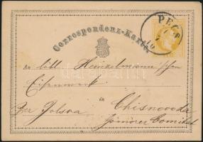 1870 Díjjegyes levelezőlap / PS-card PÉCS - kék / blue TORNALLYA