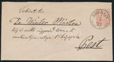 1872 5kr díjjegyes boríték / 5kr PS-cover BOGDÁNY DUNA MELLETT - Pest