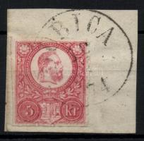 1871 Réznyomat 5kr elfogazott bélyeg ollóval vágva / Mi9 10 with shifted perforation, cut with scissor DUBICA