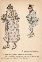 Military WWI, french humour, couple, Első világháborús francia katonai humoros lap, pár