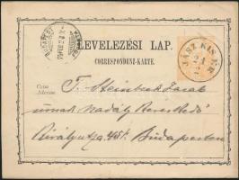 1874 Díjjegyes levelezőlap / PS-card JÁSZ KIS ÉR - BUDAPEST