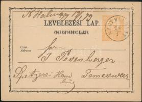 1873 Díjjegyes levelezőlap NAGY HALMÁGY - Temesvár (hajtott)