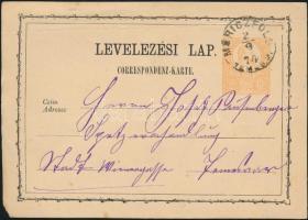 1874 Díjjegyes levelezőlap MORICZFÖLD TEMES M