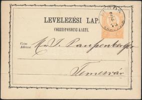 1873 Díjjegyes levelezőlap LUGOS KRASSÓ M - Temesvár