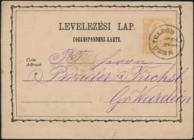 1873 Díjjegyes levelezőlap MEZŐ-TELEGD - Gr. Wardein